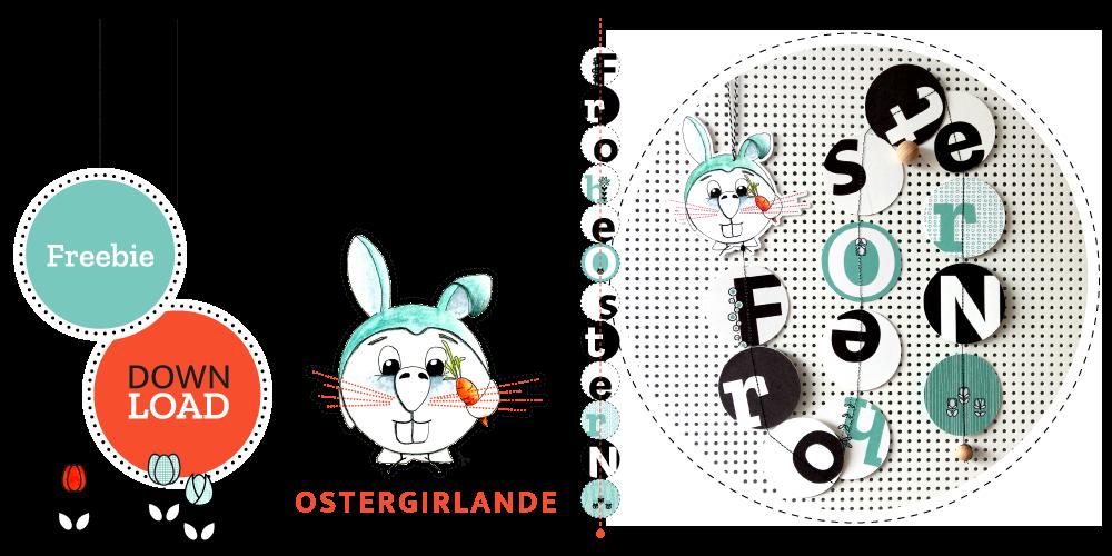 """Vogelhase mit Ostergirlande """"Frohe Ostern"""" als Freebie zum Download."""