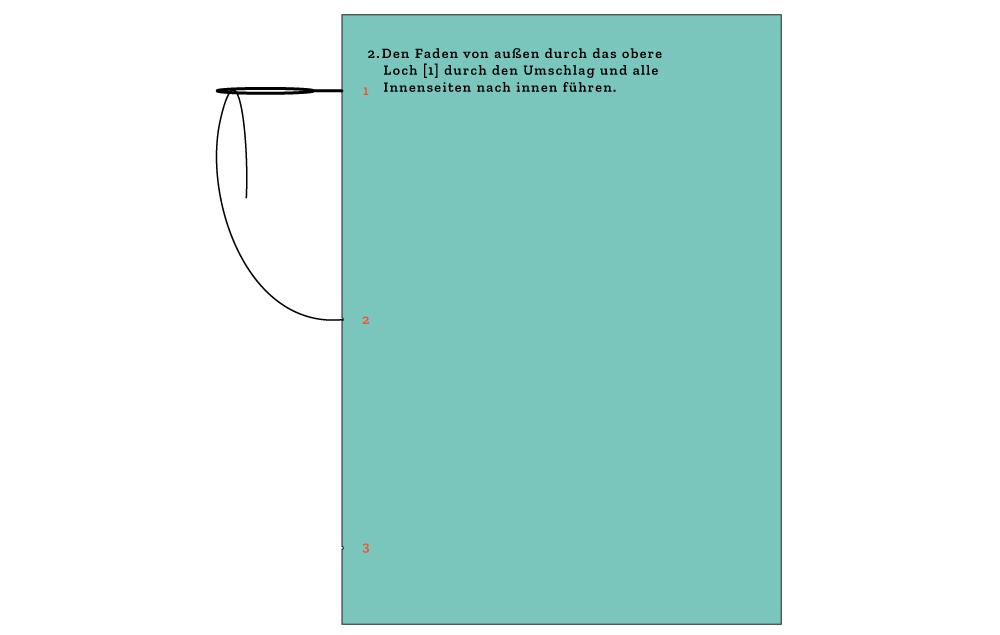 Schritt 3: Ziehe den Faden von außen durch das obere Loch zurück ins Innere des Buches.