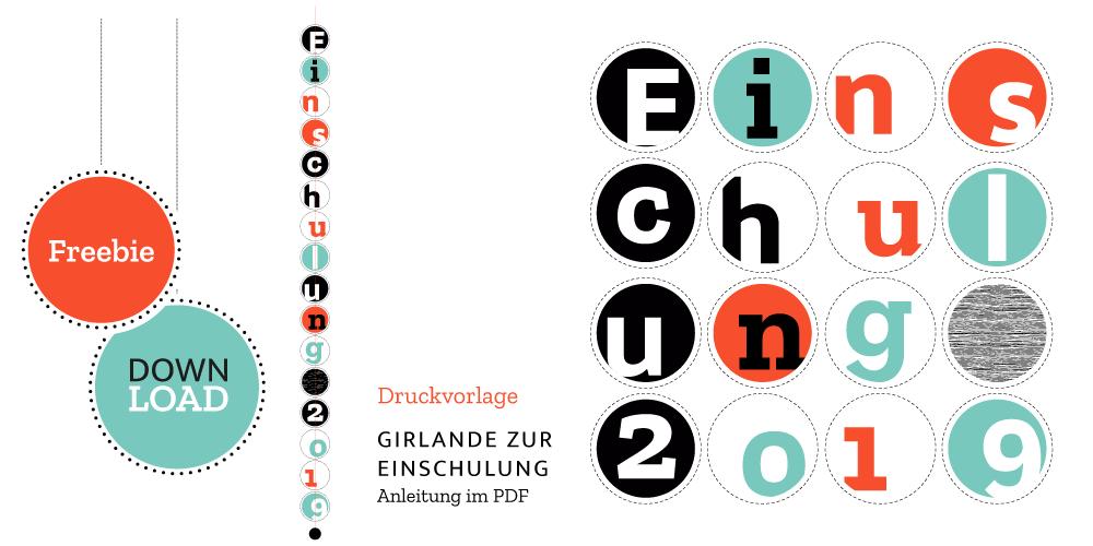 Schulstart 2019: Girlande als Geschenk- oder Wohnungsdekoration.