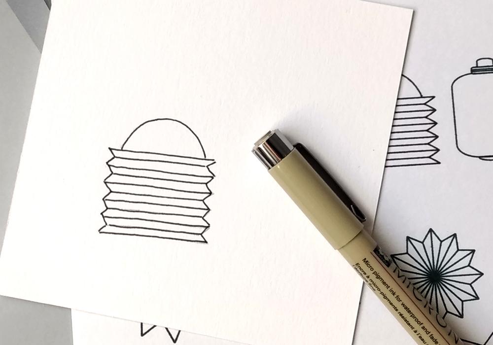 Das fertige Motiv mit einer Fineliner-Kontur – fertig zum Ausmalen oder Ausschneiden.