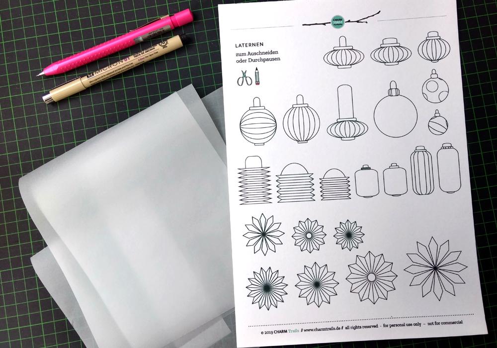 Durchpausen - Vorbereitung: Du benötigst eine Vorlage, Transparentpapier, einen weichen Bleistift und ein Blatt, auf das das Motiv übertragen werden soll.